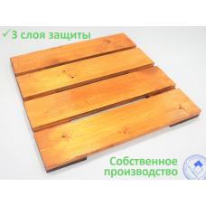 Решетка на пол для душа (сауны, бани, раздевалки) деревянная 650х650х40 «КИНТ 65-4»